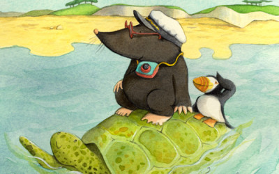 Mole and Puffin on Turtle