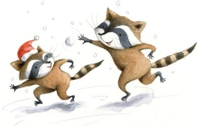 Raccoons Snowballing