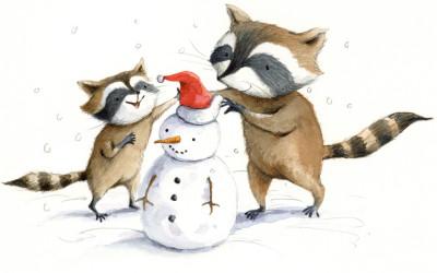 Raccoons Snowman